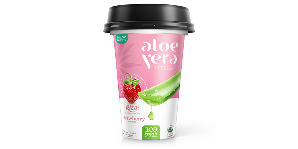 Made OEM PP cup 330ml aloe vera with strawberry