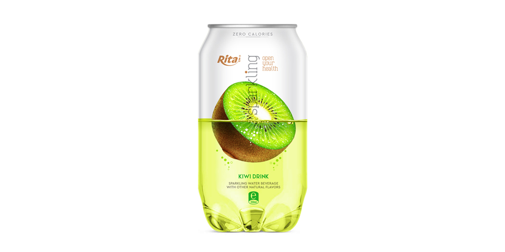 OEM Pet can 350ml Sparkling drink with kiwi flavor